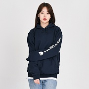 (k288) MIDWEIGHT SLEEVE LOGO HOODED-NVY (472)