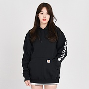 (k288) MIDWEIGHT SLEEVE LOGO HOODED-BLK
