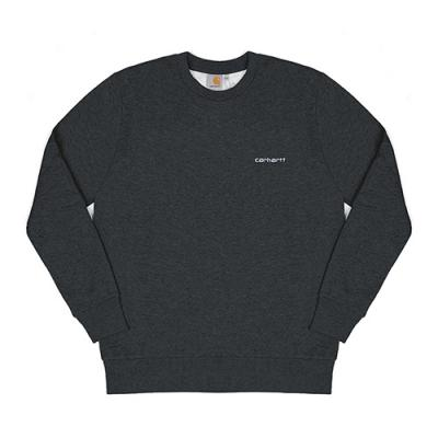(I020305)SCRIPT EMBROIDERY SWEAT-BLACK HEATHER / WHITE