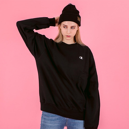 ECO FLEECE CREW-BLK