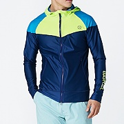 BAY HOOD ZIP UP RASHGUARD-NAVY-N.YELLOW-AQUA BLUE