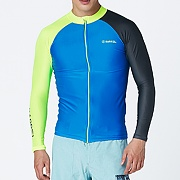 KUA ZIP UP RASHGUARD-AQUA BLUE-N.YELLOW-D.GREY