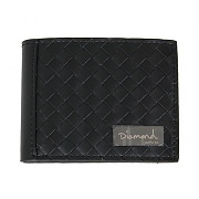 BASKET WEAVE LEATHER BI-FOLD WALLET-BLK