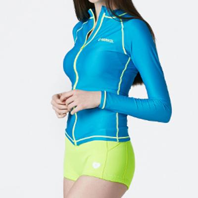 PIHA ZIP-UP RASHGUARD-AQUA BLUE