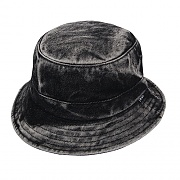 WASHED DENIM BUCKET HAT-BLK