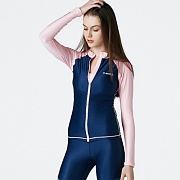 PIHA ZIP-UP RASHGUARD-NAVY-BRIGHT PINK