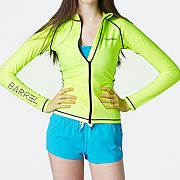 PIHA ZIP-UP RASHGUARD-NEON YELLOW