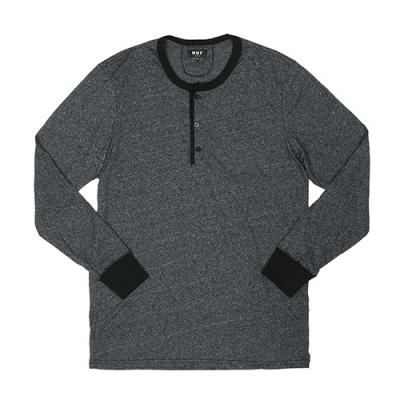 MOCK TWIST L/S HENLEY-CHARCOAL