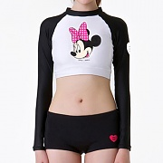 DISNEY MINNIE CROP RASHGUARD-BLACK/WHITE