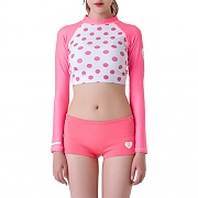 DOT CROP RASHGUARD-PINK DOT