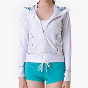 LINDA ZIP-UP HOOD RASHGUARD-WHITE