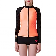 PIHA ZIP-UP RASHGUARD-PEACH/BLACK
