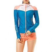SHORE ZIP-UP HOOD RASHGUARD AQUA BLUE/WHITE/PEACH