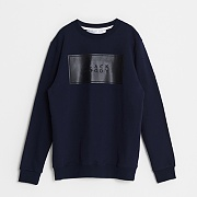 BASIC LOGO CREWNECK SWEATSHIRTS-NAVY