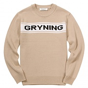 INTARSIA CREW NECK SWEATER-BEIGE