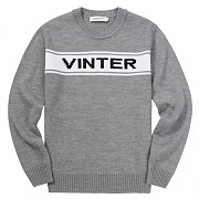 INTARSIA CREW NECK SWEATER-GREY
