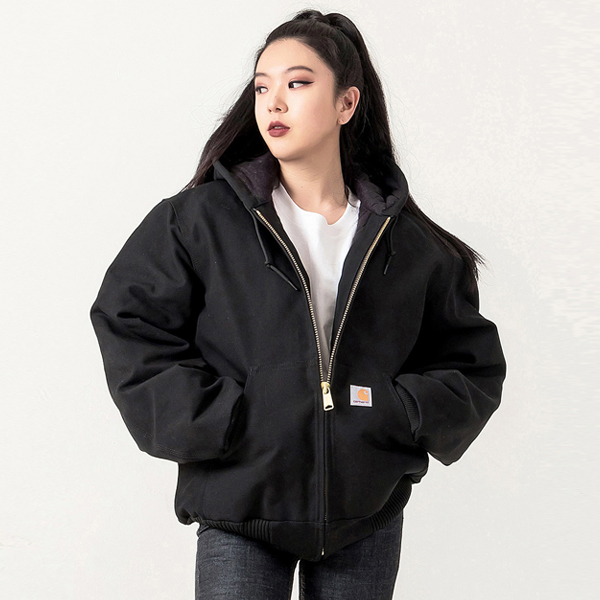 (J140) DUCK ACTIVE JACKET (QUILTED-FLANNEL LINED)-BLK