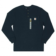 (K128) WORKWEAR PKT LS HENLEY MW JERSEY NVY