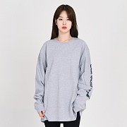 (K231) M SIGNATURE SLEEVE LOGO LS T SHIRT_HGY