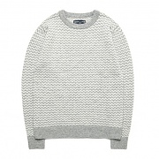 M0461 ZIGZAG WOLL KNIT SWEATER GREY