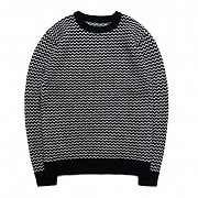 M0462 ZIGZAG WOLL KNIT SWEATER BLK