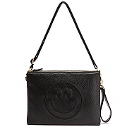 LEATHER DOUBLE CLUTCH BLACK HAPPY (BLACK)