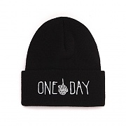 ONE DAY DOODLE KNIT BEANIE (BLACK)
