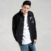 TWILL COACHES JACKET - BLACK