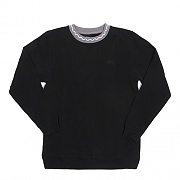 JACQUARD FLEECE CREW-BLACK