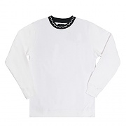 JACQUARD FLEECE CREW-WHITE