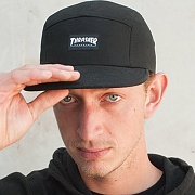 THRASHER 5 PANEL CAP - BLK