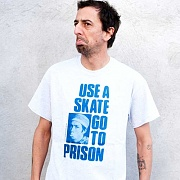 USE A SKATE GO TO PRISON TEE-WHITE/BLUE