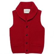 SHAWL COLLAR KNIT VEST [RED]
