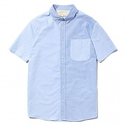 SHORT SLEEVE COTTON SHIRTS [BLUE]