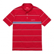 STRIPED POLO-RED