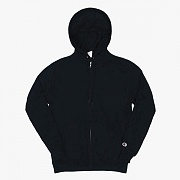 DOUBLE DRY ECO FLEECE FULL ZIP HOOD-BLK
