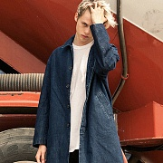 OVERSIZE MAC COAT-WASHED DENIM