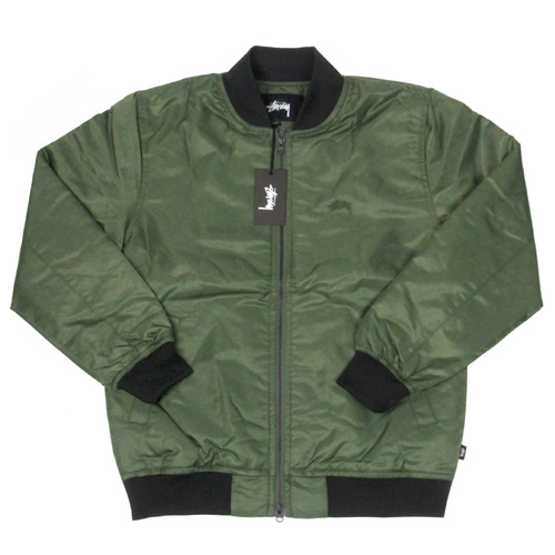FLIGHT SATIN BOMBER JACKET-OLIVE