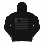 (I019968) HOODED STATE FLAG SWEATSHIRT-BLACK/BLACK