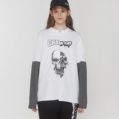 SKULL CUT OFF LAYERED TSHIRT_WH