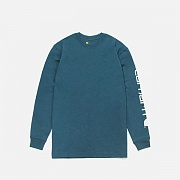 (K231) M SIGNATURE SLEEVE LOGO LS T SHIRT-BLUE (984)