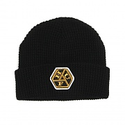WAFFLE KNIT KNOT BEANIE-BLK