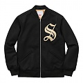 Old English Zip Varsity Jacket - Black