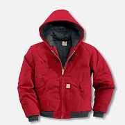 (J140) DUCK ACTIVE JACKET (QUILTED-FLANNEL LINED)-RED