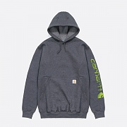 (k288) MIDWEIGHT SLEEVE LOGO HOODED-CARBON