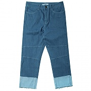 CUT-OFF DAMAGE ANKLE JEAN-DENIM