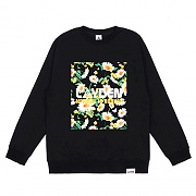 FLORAL BLOCK SWEATSHIRT - BLACK
