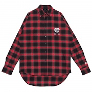 HEART ROSE FLANNEL CHECK SHIRT RED