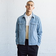 WASHED DENIM GARAGE JACKET-L.BLUE