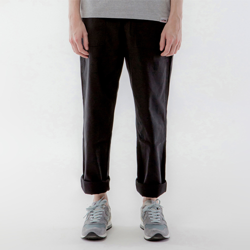 REVERSED TWILL FATIGUE PANTS-BLACK